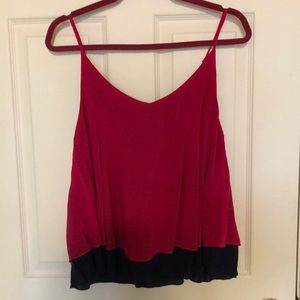 Layered tank top with v neckline